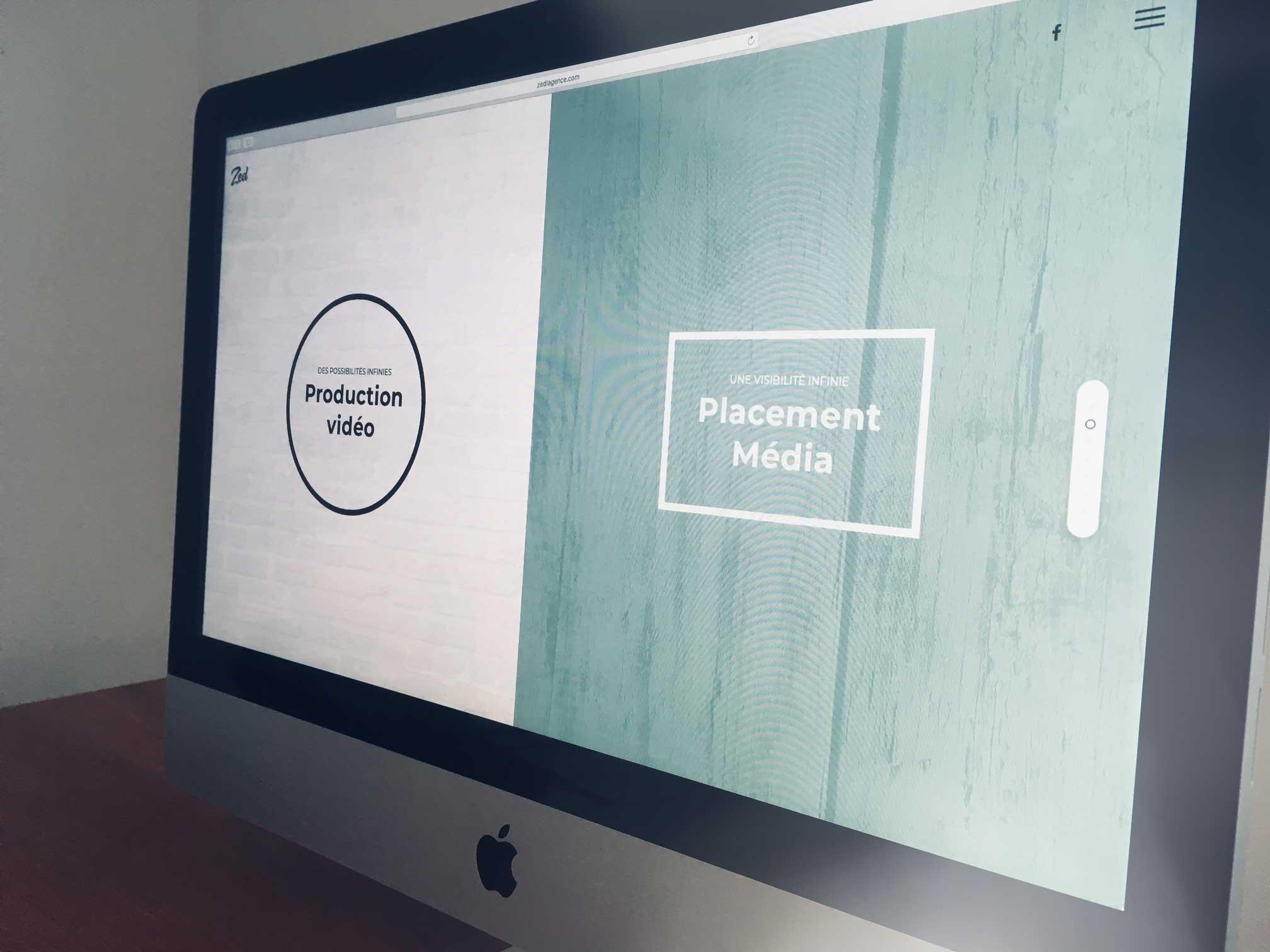 Nouveau site web de Zed l'agance dans un écran d'ordinateur